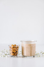 Almond Milk And Hemp Seeds Smoothie Drink
