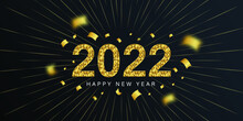 2022 Happy New Year Elegant Design - Vector Illustration Of Golden 2022 Logo Numbers On Black Background - Perfect Typography For 2022 Save The Date Luxury Designs And New Year Celebration.