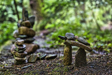 A Small Stone Sculpture In A Forest