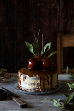 Toffee Apple Bonfire Cake In A Rustic Kitchen