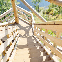 Top Down View From The Stairway Of The Modern Wooden Bird Watching Tower On The Lake Shore, Latvia. Architecture, Object, Travel Destinations, Eco Tourism, Environmental Conservation