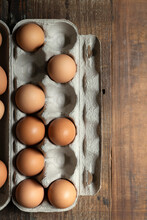 Brown Chicken Eggs In A Cardboard Carton.