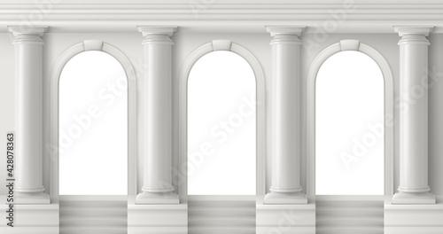 Fotografie, Obraz Ancient greek temple with white pillars