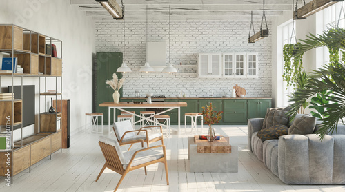 Obraz Bright living room with kitchen in loft, industrial style, 3d render  - fototapety do salonu