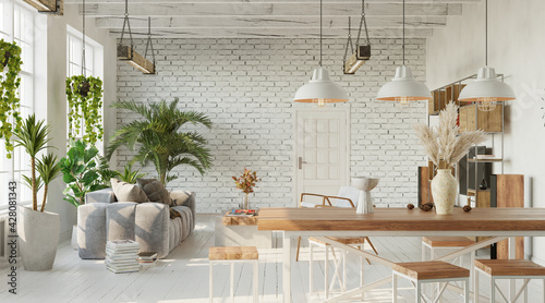 Living room interior with brick wall. loft, industrial style, 3d render  - fototapety na wymiar