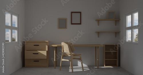 3d render interior room. minimal style design. working desk. home interior design. template for website, wallpaper, and mockup. - fototapety na wymiar