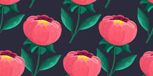 Flower Pattern. Red Bud For Fabric. A Flowering Plant With Large Green Leaves And A Large Pink Flower. Vector Pattern Botanical Illustration.