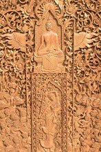 Native Thai Style Wood Carving Of Buddha Statues Tell The Story About The Buddha's History