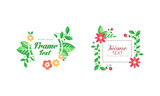 Shaped Frames with Floral Decoration for Greeting and Invitation Card Design Vector Set