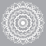 Fototapeta Kuchnia - Moroccan Moorish  vector mandala, openwork arabic pattern with shadow in white on gray background