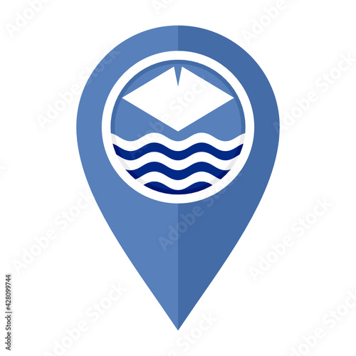 Fotografie, Obraz flat map marker icon with isle of wight flag, isolated on white background