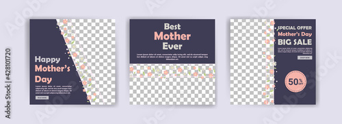 Mother's Day. Best mother ever. Banners vector for social media ads, web ads, business messages, discount flyers and big sale banner.