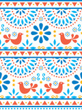 Fototapeta Kuchnia - Mexican folk art vector seamless pattern with birds and flowers, textile or fabric print design inspired by traditional art form Mexico