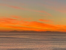 Panorama Of The Landscape Of Catalina Island, Sunset Over The Ocean. High Quality Photo