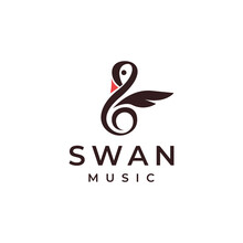 Creative Swan Music Logo Template With Swan And Musical Note Vector Icon Concept On White Background