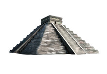 Temple Of Kukulkan, Pyramid At Chichen Itza, Yucatan, Mexico From A Splash Of Watercolor, Colored Drawing, Realistic. Vector Illustration Of Paints
