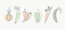 Line Art Vegetables. One Line Drawings. Vector Graphics. Isolated Background.