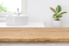 Empty Tabletop For Product Display On Blurred Bathroom Interior Background