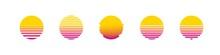 Sun Retro Set Sunset Or Sunrise Element 1980s Style. Retrowave Sun Flat Design Banner Isolated Illustration