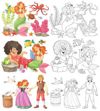 The Little Mermaid. Fairy Tale. Coloring Page. Illustration For Children. Cute And Funny Cartoon Characters