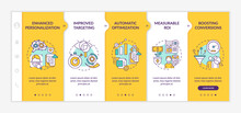 Smart Content Benefits Onboarding Vector Template. Responsive Mobile Website With Icons. Web Page Walkthrough 5 Step Screens. Digital Marketing Color Concept With Linear Illustrations