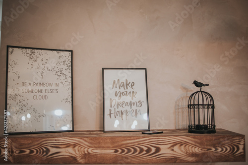 Fototapeta Room interior with beatiful quote posters