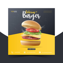 Food Or Culinary Social Media Marketing Template. Editable Square Social Media Post For Promotion. Illustration Vector With Realistic Burger.