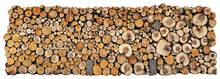 Wall From Logs Of Firewood  Isolated