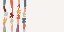 Banner. Teamwork And Cooperation Between Colleagues. Problem Solving Metaphor. Diverse People S Arms And Hands Holding One Jigsaw Puzzle Piece Joining The Other Piece.Sharing. Community