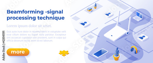 Obraz na plátně BEAMFORMING is a Signal Processing Technique - Isometric Design in Trendy Colors Isometrical Icons on Blue Background