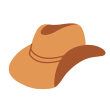 A Cowboy Hat. Wide-brimmed Hat, Isolated On A White Background. Vector Illustration Flat Illustration