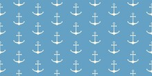 Nautical Seamless Pattern With Geometric Ship Anchors