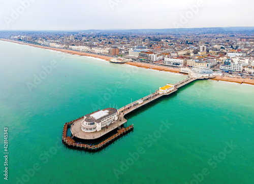 Obraz na plátně An aerial view of Worthing Pier, a public pleasure pier in Worthing, West Sussex