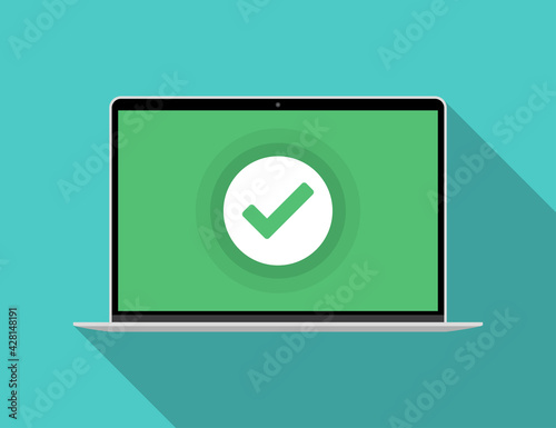Obraz Laptop with green checkmark notification in a flat design - fototapety do salonu