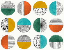 Seamless Pattern Of Doodle Creative Minimalist Abstract Art Circle Shape And Hand Drawn Doodle Scribble Circle. Design Elements Or Background For Wall Decoration, Postcard, Poster Or Brochure