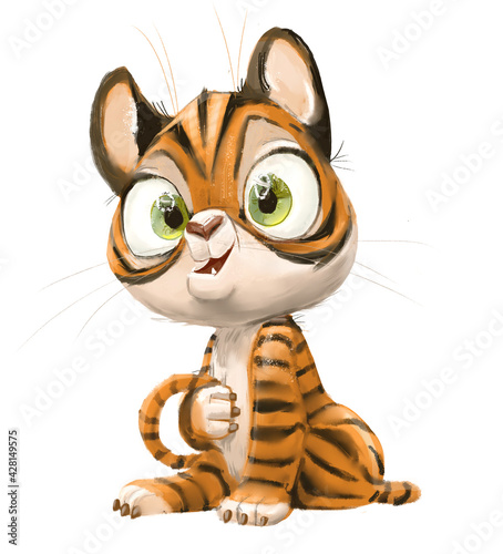 Fototapeta premium cute lovely little tiger cartoon character