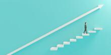 階段を上るビジネスマンと上昇矢印の3Dレンダリンググラフィックス / ビジネスの成功・ステップアップ・業績向上のコンセプトイメージ
