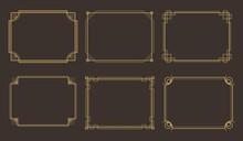 Art Deco Frames. Geometric Line Border, Luxury Golden Frame Vector Set