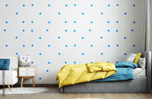 Obraz Wall mockup in blue child room interior. Nursery Interior in scandinavian style. 3d rendering, 3d illustration - fototapety do salonu