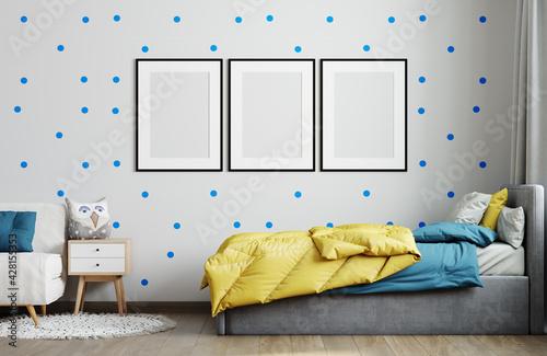 Obraz Frame mockup in child room interior. Nursery Interior in scandinavian style. 3d rendering - fototapety do salonu