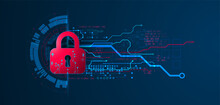 Personal Data Security Illustrates Cyber Data Or Information Privacy Idea. Color Abstract  Internet Technology.