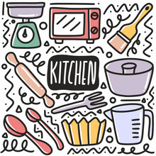 Hand Drawn Kitchen Equipment Doodle Set