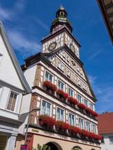 Half Timbered Town Hall In Kirchheim Unter Teck, Baden Württemberg, Germany, Europe
