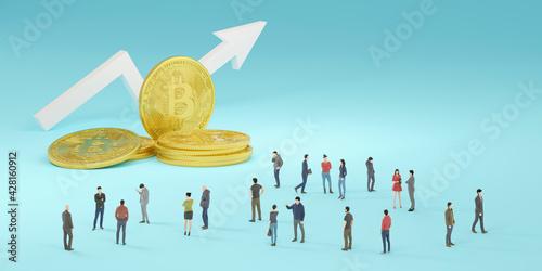 Stampa su Tela 仮想通貨と上昇する矢印の周囲に集まった群衆の3Dレンダリンググラフィックス / 電子取引・マイニングのコンセプトイメージ