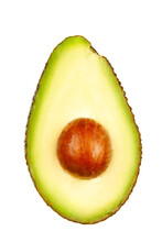 Cut In Half Avocado On A White Background. Isolated.