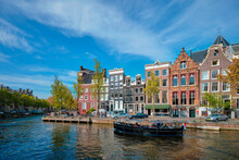 Amsterdam View - Canal With Boad, Bridge And Old Houses