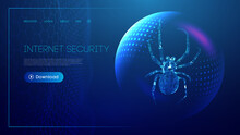 Virus Spider In Low Poly Style On Blue Background With Sphere Shield. Cybercryme Technology Network Web Vector Illustration. Internet Fraud Abstract Vector Background. Cyber Criminal Hacker Attack.