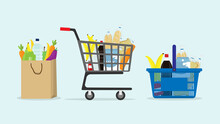 Shopping Trolley And Basket Of Food From Grocery Purchases. Paper Bag And Plastic Of Food Like Fruits, Vegetable, Bread, Bottle Of Water In Flat Style Vector Illustration. Retail Super Market Goods.