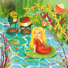 Small Girl Swimming On A Water Lily Leaf And Laughing At Two Mad Old-fashioned Frogs