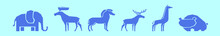 Set Of Animals Cartoon Icon Design Template With Various Models. Vector Illustration Isolated On Blue Background